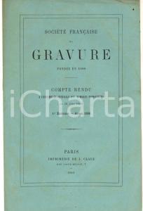 1869 PARIS Société Française de Gravure - Compte rendu du 1er exercice