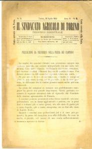 1893 TORINO SINDACATO AGRICOLO Precauzioni per la presa dei campioni Anno IV n°3
