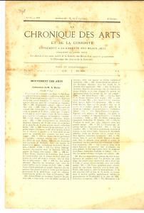 1892 PARIS La CHRONIQUE DES ARTS - Collection de HULOT n° 32 Supplément