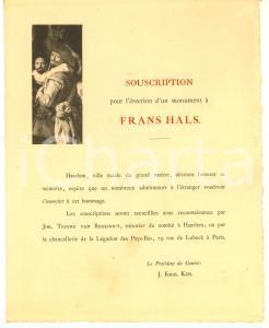 1890 ca HAARLEM (NL) Sottoscrizione per il monumento a Frans HALS *Lettera