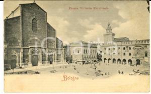 1900 ca BOLOGNA Piazza VITTORIO EMANUELE II *Cartolina ANIMATA con calesse