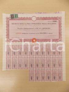 1960 PADOVA Società Veneta Industria Zuccheri - Certificato obbligazioni cedole