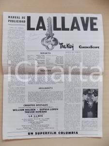 1958 LA LLAVE Film Sophia LOREN - William HOLDEN *Periodico CINE PUBLICIDAD
