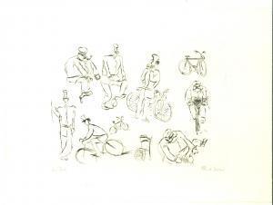 1990 ca Alberto REBORI L'uomo in bicicletta *Incisione numerata FIRMATA 6/30