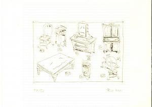 1990 ca Alberto REBORI Antica mobilia *Incisione numerata FIRMATA 17/30