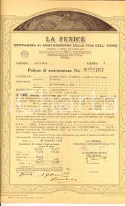 1934 TRIESTE Compagnia LA FENICE Polizza assicurazione sulla vita di Mario DARDI