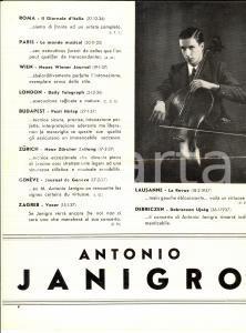 1940 ca Antonio JANIGRO musicista solista  - Pieghevole PUBBLICITARIO