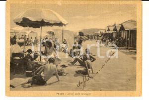 1937 PESARO Saluti dalla spiaggia *Cartolina ANIMATA VINTAGE FG VG