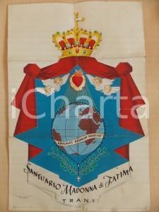 1960 TRANI Santuario MADONNA DI FATIMA *Bozzetto stendardo COLLAGE 30x45
