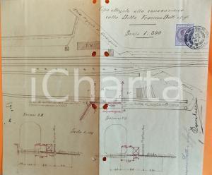 1911 GARBAGNATE (MI) Planimetria terre e ferrovia- ditta Francesco DOTTI 28x26