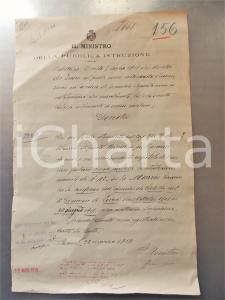 1919 ROMA Decreto Giacomo MAZZIO bidello *Autografo ministro Agostino BERENINI
