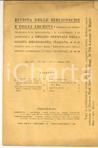 1903 RIVISTA DELLE BIBLIOTECHE E DEGLI ARCHIVI Biblioteca RAYNERI-BERTI n°2
