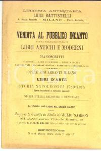 1899 MILANO Libreria antiquaria LUIGI BATTISTELLI Asta opere Milano e Napoleone