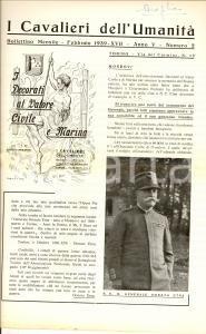 1939 MONDOVI' Bollettino I CAVALIERI DELL'UMANITA' Testamento gen. Donato ETNA