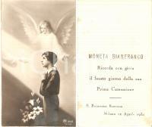 1934 MILANO Chiesa S. Francesca Romana Prima Comunione Gianfranco MONETA Santino