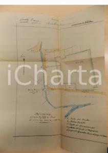 1940 ca PIEVE DEL CAIRO Planimetria terre famiglia GIACOBBE zona MOLINO BIANCO