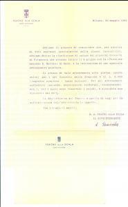 1950 MILANO TEATRO ALLA SCALA Lettera pubblicitaria per i Concerti di Primavera