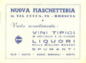 1950 ca BRESCIA Nuova fiaschetteria Vini tipici liquori *Volantino pubblicitario