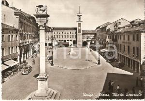 1960 ca ROVIGO PIazza Vittorio Emanuele ANIMATA *Cartolina FG VG