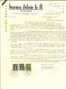 1948 PESCARA Ditta Antonio SICURANZA calzature - Merce invenduta *Lettera