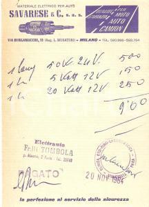 1964 MILANO Materiale elettrico per auto SAVARESE *Ricevuta ILLUSTRATA 12x17 cm