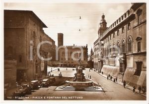 1950 ca BOLOGNA Piazza e Fontana del Nettuno *Cartolina ANIMATA FG NV