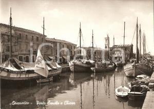 1951 CESENATICO (FC) Porto Canale e Barca con vela FERRANIA *Cartolina FG NV