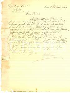1904 COMO Ing. Luigi CATELLI progetta un corso di tecnologia del legno *Lettera
