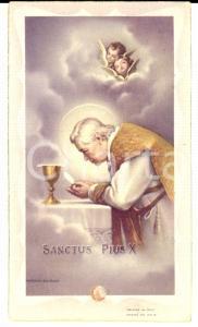 1951 ROMA Santino pro canonizzazione beato papa PIO X con frammento reliquia