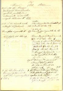 1880 ca TORRAZZA COSTE (PV) Debiti e crediti eredità Teofilo RACCAGNI *Registro