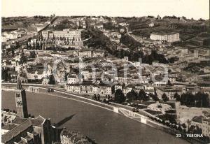 1950 ca VERONA Panorama con Castel San Pietro Teatro Romano *Cartolina FG VG
