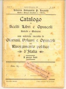 1899 ROMA Pio LUZZIETTI Catalogo libri sul Risorgimento *Anno X n° 99-100