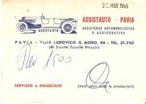 1965 PAVIA Assistenza assicurativa ASSISTAUTO *Biglietto 12x8 cm