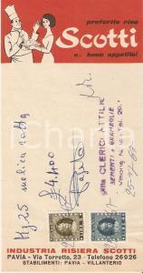 1967 PAVIA Sementi Attilio CLERICI Riso SCOTTI *Ricevuta 8x16 cm