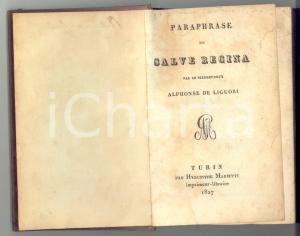 1827 Alphonse DE LIGUORI Paraphrase du Salve Regina *Edition Hyacinthe MANETTI