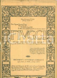 1916 Giuseppe CECCACCI CASALI Fiuggi chiare fresche e dolci acque *Pubblicazione