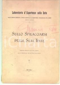 1905 MILANO Laboratorio Esperienze sulla Seta Sfilacciarsi delle sete tinte