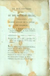 1800 ca François ROBIN DE SCEVOLE Le dix-septième et le dix-huitième siècle