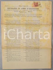 1899 MILANO Libreria Luigi BATTISTELLI Catalogo libri d'occasione in vendita