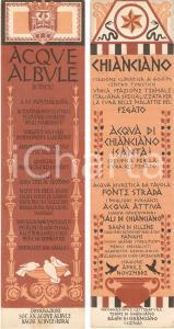 1965 ca CHIANCIANO TERME Acque albule di TIVOLI *Segnalibro Istituti termali