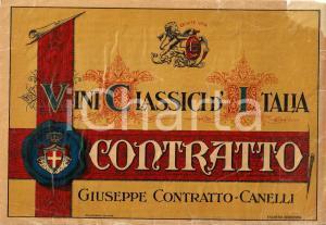 1930 ca CANELLI (AT) Vini classici d'Italia CONTRATTO *Vetrofania ILLUSTRATA