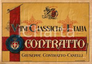 1930 ca CANELLI (AT) Vini classici d'Italia CONTRATTO *Vetrofania DANNEGGIATA