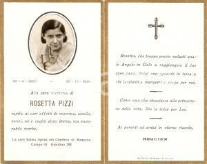 1934 MILANO Cimitero di MUSOCCO In memoria di Rosetta PIZZI *Santino
