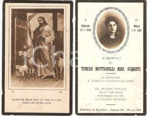 1926 MILANO In memoria di Teresa MATTAVELLI - ARQUATI *Santino ILLUSTRATO