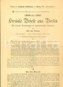 1891 BERLIN Soziale Briefe aus Berlin *Volantino editoriale pubblicitario