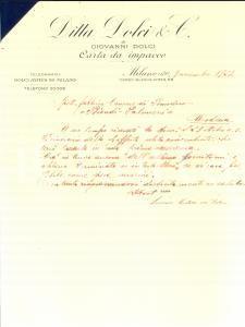 1923 MILANO Ditta DOLCI di Giovanni DOLCI Carta da impacco *Lettera commerciale