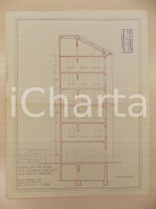 1940 ca MILANO Arch Ferruccio BIGI Progetto sezione casa civile Via FIORI CHIARI