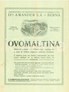 1930 ca BERNA (SVIZZERA) Laboratorio prodotti dietetici WANDER Ovomaltina