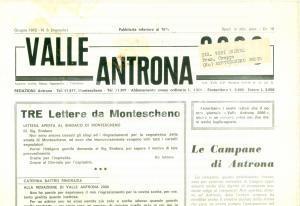 1972 Mensile LA VALLE ANTRONA Le Campane di ANTRONA *Giornale