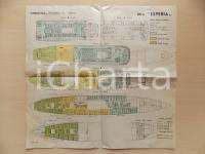 1940 ca VENEZIA Motonave ESPERIA Navigazione ADRIATICA Planimetria dei ponti